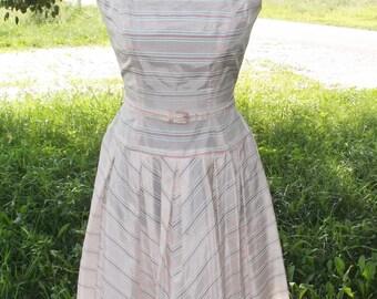 1950s Vintage Peach and Blue Striped Taffeta Dress XS. 32 inch Bust, 24 inch Waist