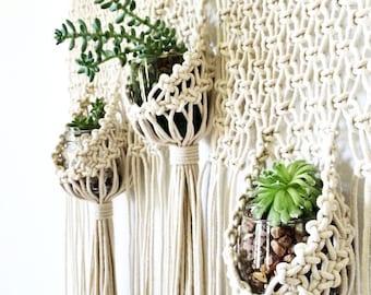 Macrame Wall Hanging Triple Planter | Modern Macrame Wall Hanging | Macrame Plant Hanger | Macrame Succulent Planter | Boho Decor