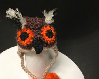 Owl Hat for a chicken(LARGE SIZE, probably suited to a Silkie or Polish etc), or doll. PLEASE check measurements in photos.