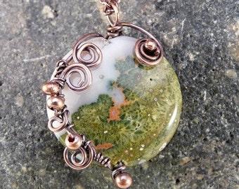 Wire Wrapped Jasper Pendant Necklace, Copper. Green, Autumn Colors.