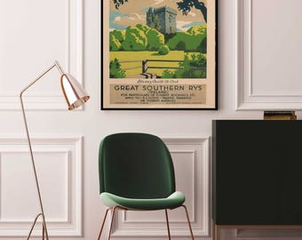 Ireland Travel Poster, Blarney Castle Vintage Travel Poster, Ireland Poster, Ireland Print, Ireland Travel, Blarney Stone,Ireland