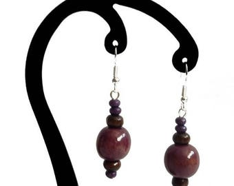 Purple and dark brown wood earrings