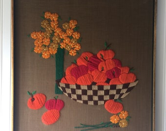 Vintage Crewel, Framed Crewel, Fruit Crewel, Floral Crewel, Flower Crewel, Peaches Crewel, Apples Crewel, Yarn Art, Wall Hanging, Wall Decor