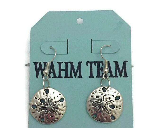 Silver Sand Dollar Earrings, Beach Theme Earrings,  Sea Shell Theme Dangle Earrings, Silver Drop Earrings, Silver Dangle Earrings