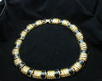 Gold tone and Black Enamel Enameled Classic Tailored Choker Necklace 17.5 inches