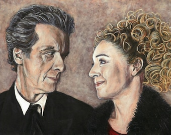 Doctor Who Twelve and River Song Acrylic Painting Art Print 11.7 x 16.5 inches Peter Capaldi Alex Kingston