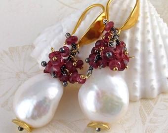 Baroque pearl and ruby (red sapphire) earrings, handmade 24k vermeil earrings, July and June birthstone jewelry