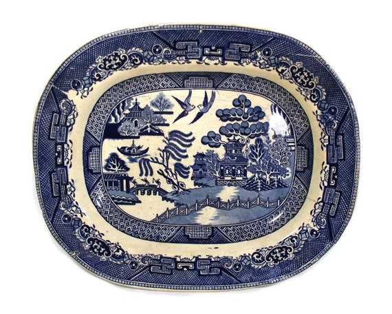 Large Antique Willow Pattern Meat Plate