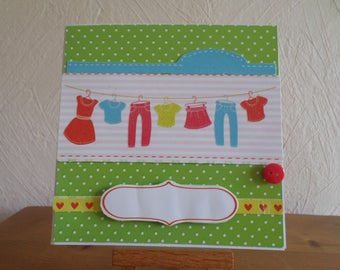 card for children with laundry hanging doll