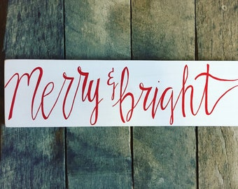 Merry & bright sign, merry and bright wood sign, christmas merry and bright sign, wood christmas sign, christmas decor