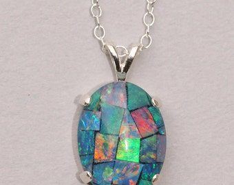 GENUINE Australian Opal Necklace,Sterling Silver Mosaic Opal Necklace,Gemstone Jewelry,Real Opal Jewelry,Silver Opal Necklace,Birthstone