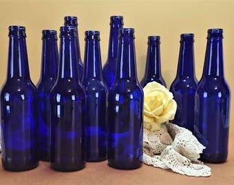 Cobalt Blue Bottle Collection, Bottle Set of 10, Blue Bottle Lot, Cobalt Blue Bottle Vases, Blue Wedding Décor, Bottles for Centerpieces