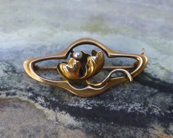 Art Nouveau Pearl and Gold Dress Pin, Victorian Gold and Pearl Brooch, Antique Water Lilly, Gold Lotus Flower Pin