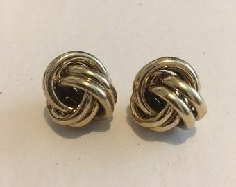 Vintage  golden knot post earrings