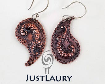 Copper Paisley Earrings with a Flourish