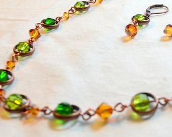 Floating Crystal Link Crystal OOAK Statement Necklace
