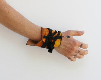 Wasteland Firestorm Leather Cuff, Wrist Wrap, Post Apocalyptic Fallout Leather, Moyamensing Distressed Leather Cuff Ambidextrous, dystopian