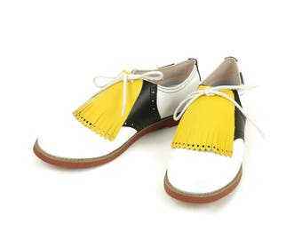 Yellow Kilties for Womens Golf Shoes, Best Gifts for Mom, Ladies Golf Shoes, Shoe Accessories, Shoe Decoration, Golf Gifts, Lindy Hop Shoes