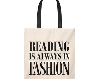 Nerd Tote Bag, Librarian Gift, Reading is Always in Fashion, Carryall Bag for Bookworms, Booklover's Perfect Little Bag