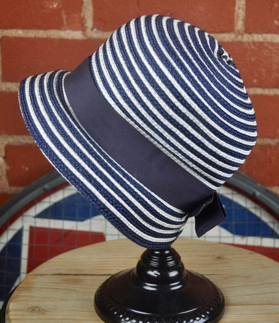 Vintage 1960s Navy Blue and White Striped Connie Mae Straw Cloche Hat