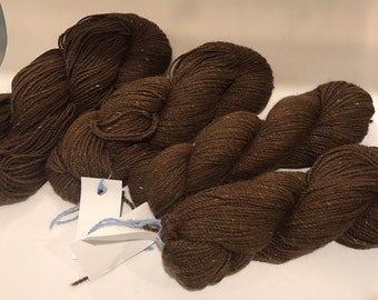 Alpaca Yarn Brown Sport Weight 200 yards 10% Silk