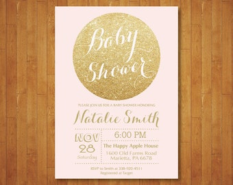 Pink and Gold Baby Shower Invitation. Gold Glitter Baby Shower Invitation. Girl Baby Shower. Sparkle. Printable Digital.
