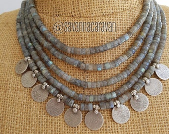 Multi strand labradorite necklace with century old silver Indian Rupee coins N172