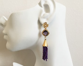 Purple Beaded Tassel Earrings - Purple Flower Fringe Earrings - Gold Flower Earrings - Bohemian Tassel Earrings - Purple Seed Bead Earrings