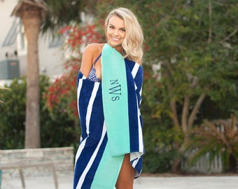Monogrammed Beach Towel | Personalized Preppy Prints Pool Towel
