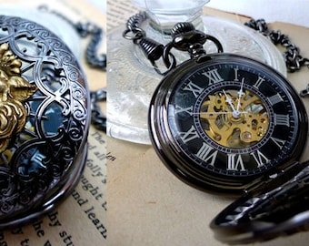 2 Steampunk Mens Pocket Watches with Lion or Fleur de Lis - Hand-Wind Mechanical Watches - Gifts for Him Groomsmen Wedding