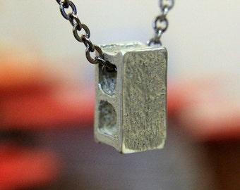 Cinder Block Necklace Silver Concrete Building Block Pendant Necklace 079