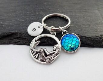 Mermaid Scale Keyring, Mermaid Keychain, Initial Keyring, Hand Stamped Keyring, Mermaid Gift, Personalised Keyring, Mermaid Gifts