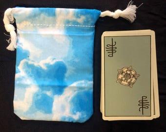 Blue Clouds Print Pattern Tarot Card Deck Bag - Drawstring Bag for Tarot Cards