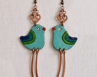 Enamel Earrings, Enamel Jewelry, Birdie, Blue Bird Earrings, Bird Earrings, Birdie Earrings, Enameled Earrings, Bird Jewelry, Blue Bird,