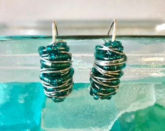 Teal Glass Bead Wire Wrapped Earrings