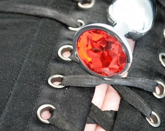 Little Princess Jeweled Butt Plugs in Dark Red - BDSM Sex Toys
