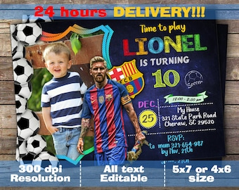 Messi invitation, Messi birthday invitation, Barcelona invitation, Barcelona birthday invitation, Leo messi invitation, Leo messi birthday,