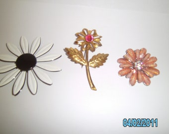 Vintage Flower Brooches