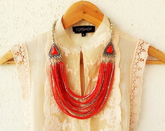 Red Necklace/Multi Layered Necklace/Statement Necklace/Silver Bohemian Necklace/Handmade Necklace
