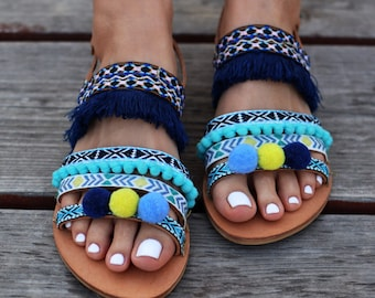"Bohemian Sandals ""Veronica"", gladiator sandals, blue sandals, fringes sandals, pom pom sandales, made by genuine leather, turquoise color"