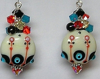 PRiMaRiLy PaST PeRFeCT Handcrafted Lampwork Art Glass Earrings by GLiTTeRBuG oRiGiNaLS SRAJD