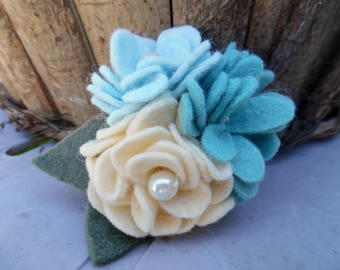 Blue Felt Flower Brooch Felted Corsage Yellow Wool Pin Beaded