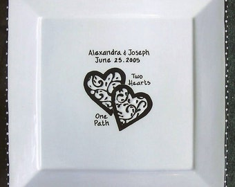 WEDDING GUEST BOOK alternative Guest Book Plate, Wedding signature Plate, Guestbook, wedding plate, personalized plate,Custom Plate Hearts