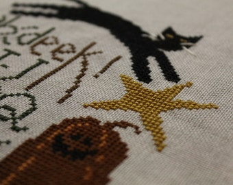 Eek! Finished Completed Cross Stitch - Great Halloween item - Design from Bent Creek