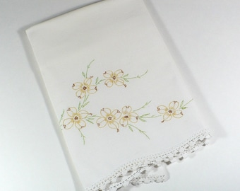 Vintage pillowcase, embroidered, dogwood flowers, yellow, brown, green, cotton, 21x28 inches