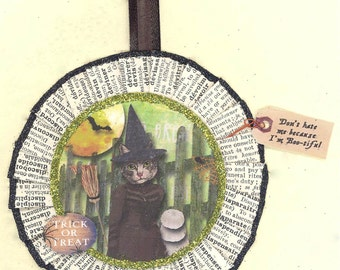Kitty Cat Witch | Halloween Ornament | Victorian Style