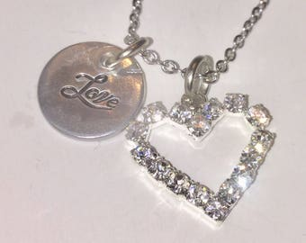 Love necklace, heart necklace, charm necklace, silver necklace, crystal necklace, heart charm, love charm, necklace