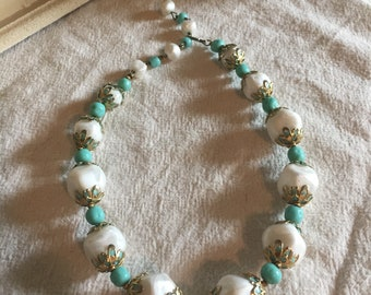 Vintage early plastic beaded necklace