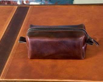 Leather Dopp Kit, Men's Brown Leather Travel Kit, Toiletry Bag, Horween Leather Travel Case