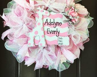 Deluxe Personalized Pink Burlap Baby Wreath, Hospital Door Wreath, Newborn Announcement, It's a Girl Wreath, Baby Hospital Door Sign